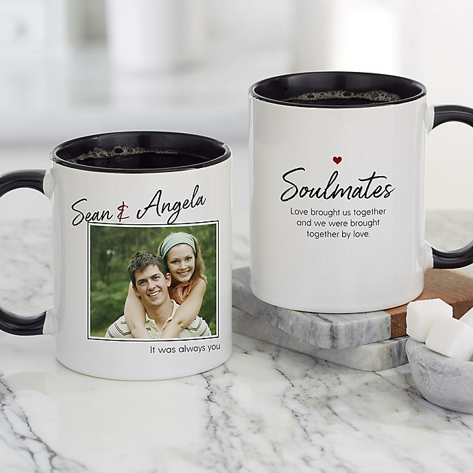 Alternate image 1 for Soulmates Personalized Romantic Photo 11 oz. Coffee Mug