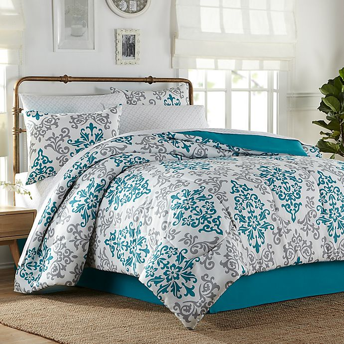 Carina 6-8 Piece Comforter Set in Turquoise | Bed Bath & Beyond