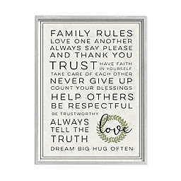 Family Rules Love Dream Often 11-Inch x 14-Inch Wall Art in White Frame