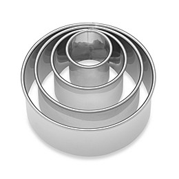 Ateco® 4-Piece Stainless Steel Plain Round Cookie Cutter Set