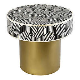 TOV Furniture Bone Inlay Side Table in White/Black