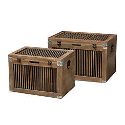 Baxton Studio Vladka 2-Piece Wood Spindle Storage Trunk Set in Brown