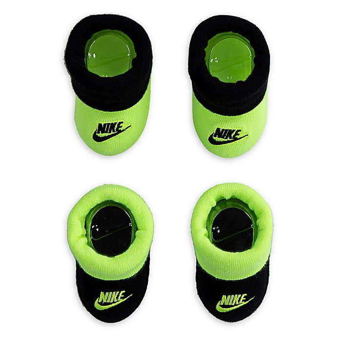 Alternate image 1 for Nike® Size 0-6M 2-Pack Futura Booties in Volt/Black