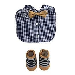 Toby Fairy™ Bow Tie Bib and Sock Set in Navy/Yellow
