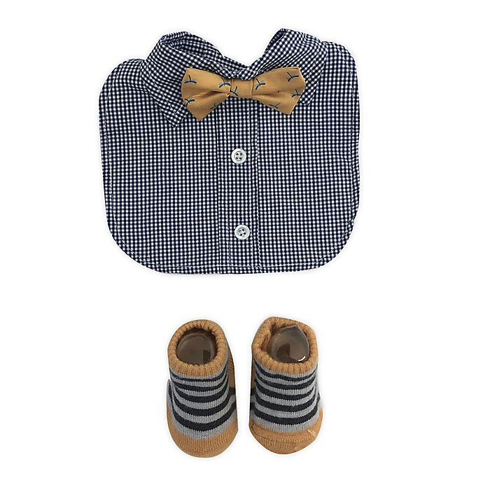 Alternate image 1 for Toby Fairy™ Bow Tie Bib and Sock Set in Navy/Yellow