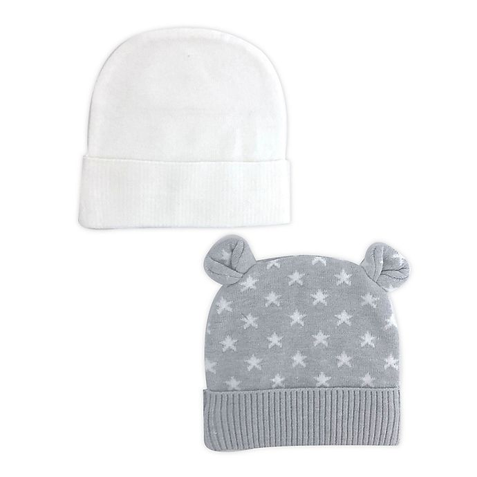 Alternate image 1 for NYGB™ 2-Pack Grey Stars and Solid Knit Hats in Cloud