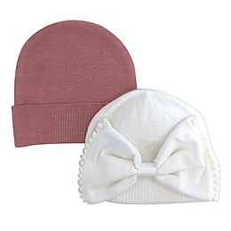 NYGB™ 2-Pack Trimmed Bow and Solid Knit Hats in Ivory/Pink