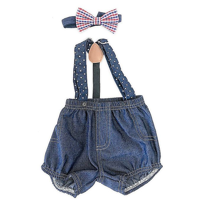 Alternate image 1 for Toby Fairy™ Newborn 3-Piece Denim Diaper Cover, Suspenders, and Bow Tie Set in Navy