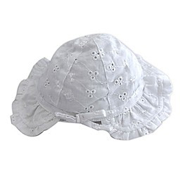 Toby Fairy™ Newborn Eyelet Bonnet in White