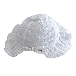Toby Fairy™ Newborn Eyelet Bonnet in White