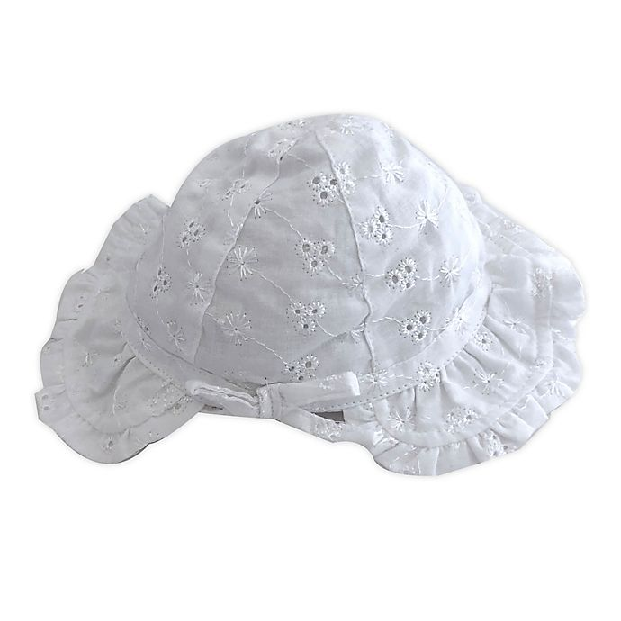 Alternate image 1 for Toby Fairy™ Newborn Eyelet Bonnet in White