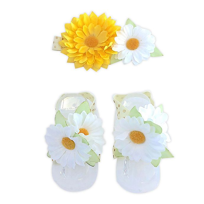 Alternate image 1 for Toby Fairy™ Newborn Flower Headband and Bootie Set in White