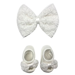 Toby Fairy™ 2-Piece Lace Bow Headband and Mary Jane Sock Set in Ivory