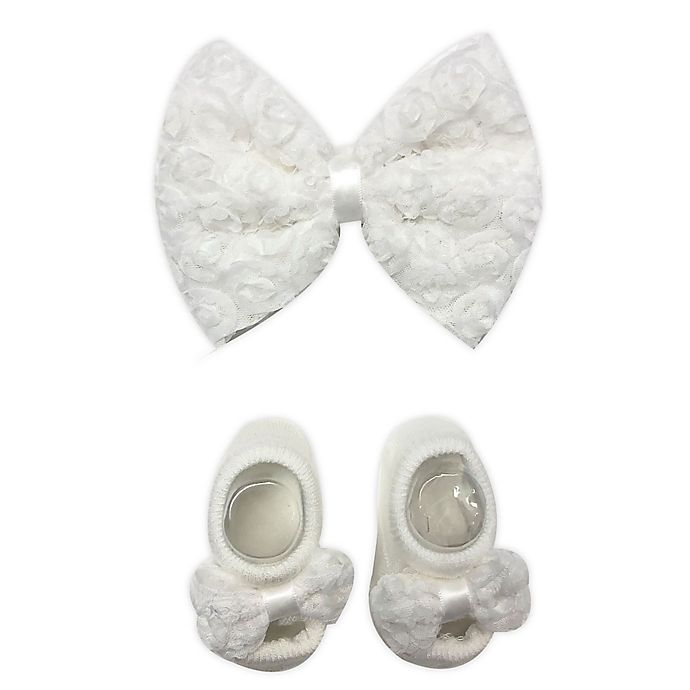 Alternate image 1 for Toby Fairy™ 2-Piece Lace Bow Headband and Mary Jane Sock Set in Ivory