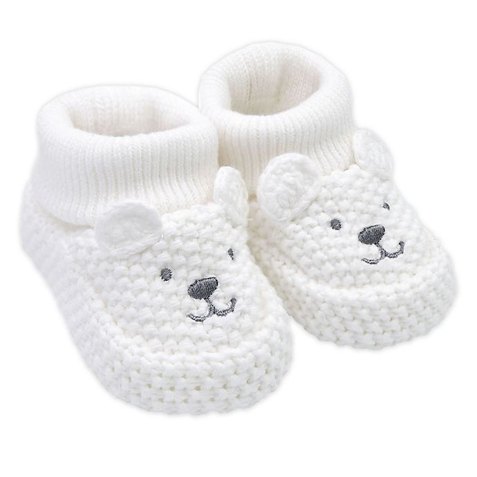 Alternate image 1 for carter's® Crochet Bear Booties in Ivory