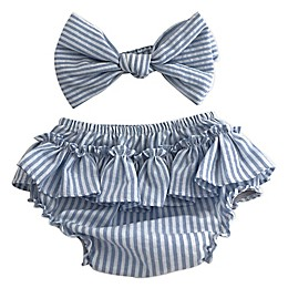 Toby Fairy™ 2-Piece Seersucker Bow Headband and Diaper Cover Set in Blue