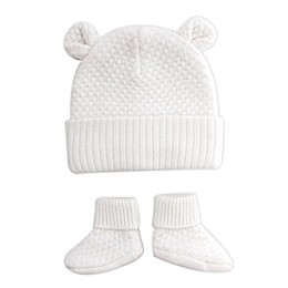 NYGB™ Newborn 2-Piece Bear Hat and Bootie Set in Ivory