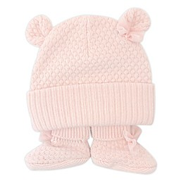 NYGB™ Newborn Bow Hat with Ears and Bootie Set in Pink
