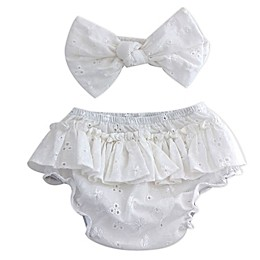 Toby Fairy™ 2-Piece Eyelet Bow Headband and Diaper Cover Set in White