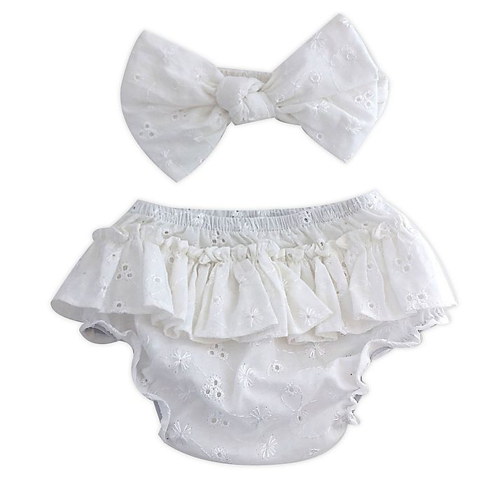 Alternate image 1 for Toby Fairy™ 2-Piece Eyelet Bow Headband and Diaper Cover Set in White