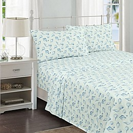 Coastal Life Miami Shells 144-Thread-Count Sheet Set in Blue