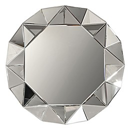 Arthouse Faceted 32-Inch Round Wall Mirror