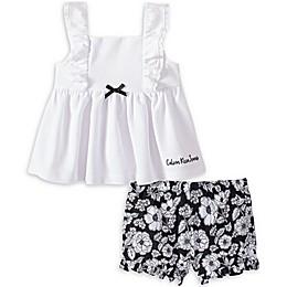 Calvin Klein® 2-Piece Woven Shirt and Short Set in White