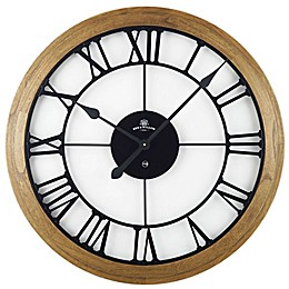 Bee & Willow™ Home Rustic Wood & Roman Grill 32-Inch Wall Clock in Brown/Black