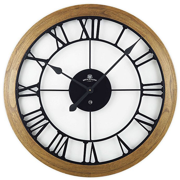 Alternate image 1 for Bee & Willow™ Home Rustic Wood & Roman Grill 32-Inch Wall Clock in Brown/Black