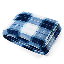 Nautica® Northsail Plaid Ultra Soft Plush Blanket in Dark Blue