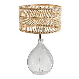Adesso® Cuba Glass and Rattan Teardrop Table Lamp in Natural