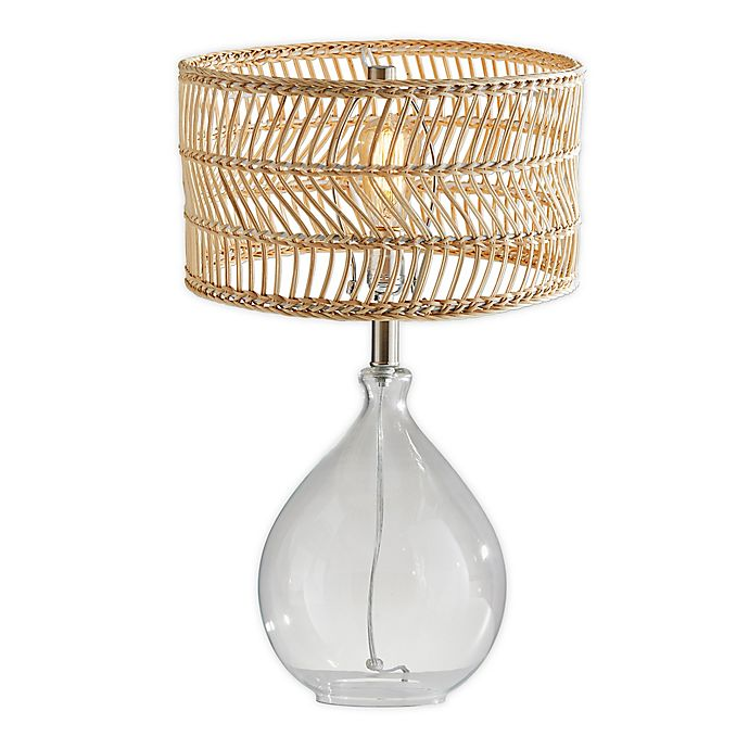 Alternate image 1 for Adesso® Cuba Glass and Rattan Teardrop Table Lamp in Natural