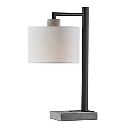 Adesso® Devin Black with Grey Cement Table Lamp in Black