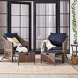 Bee & Willow™ Home 5-Piece All-Weather Wicker Patio Conversation Set in Brown/Navy