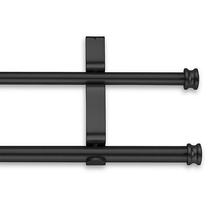 Alternate image 1 for Cambria® Classic Complete® 28-Inch to 48-Inch Double Drapery Rod in Satin Black