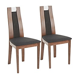 LumiSource Aspen Contemporary Dining Chairs in Walnut/Charcoal (Set of 2)