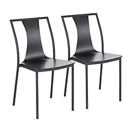 LumiSource Osaka Contemporary Steel Chairs in Black (Set of 2)