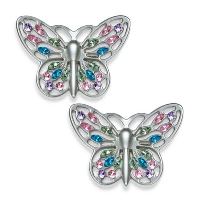 Set of 2 Brushed Nickel Jeweled Butterfly Design Curtain Rod Ends Caps Finials