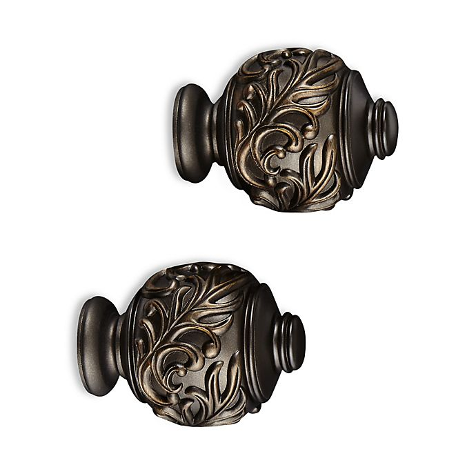Alternate image 1 for Cambria® Elite Complete Leaf Embossed Finial in Matte Brown (Set of 2)