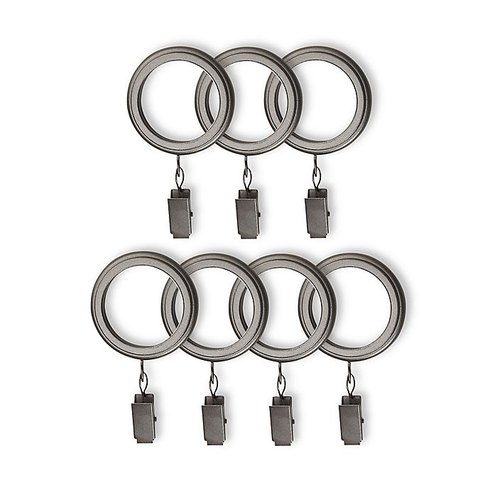 Alternate image 1 for Cambria® Connections Clip Rings in Graphite (Set of 7)