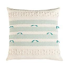 Safavieh Billi Striped Square Throw Pillow in Beige/Teal