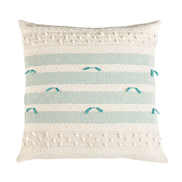 Alternate image 1 for Safavieh Billi Striped Square Throw Pillow in Beige/Teal