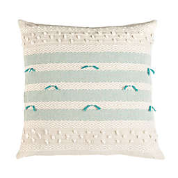 Safavieh Billi Striped Square Throw Pillow in Beige/Teal