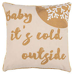 """Safavieh """"Cold Outside"""" Square Throw Pillow in Beige/Gold"""
