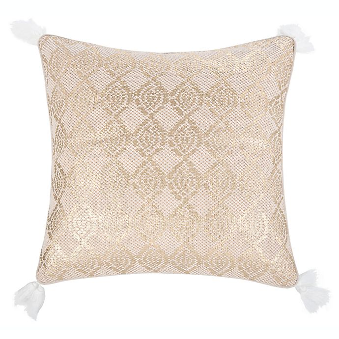 Safavieh Lanton Square Throw Pillow In Gold White Bed Bath And Beyond Canada
