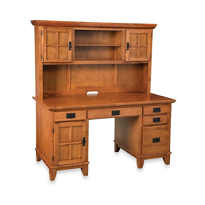 Home Styles Arts Crafts Pedestal Desk And Hutch In Cottage Oak View A Larger Version Of This Product Image