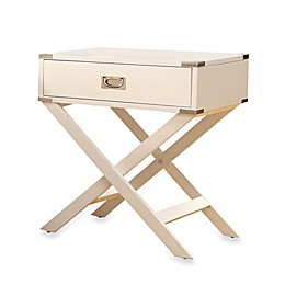 iNSPIRE Q® One Drawer Accent Table/Cross Leg Nightstand in White