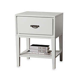iNSPIRE Q® One Drawer Accent Table/Straight Leg Nightstand in White