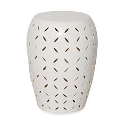 Emissary White Ceramic Lattice Stool