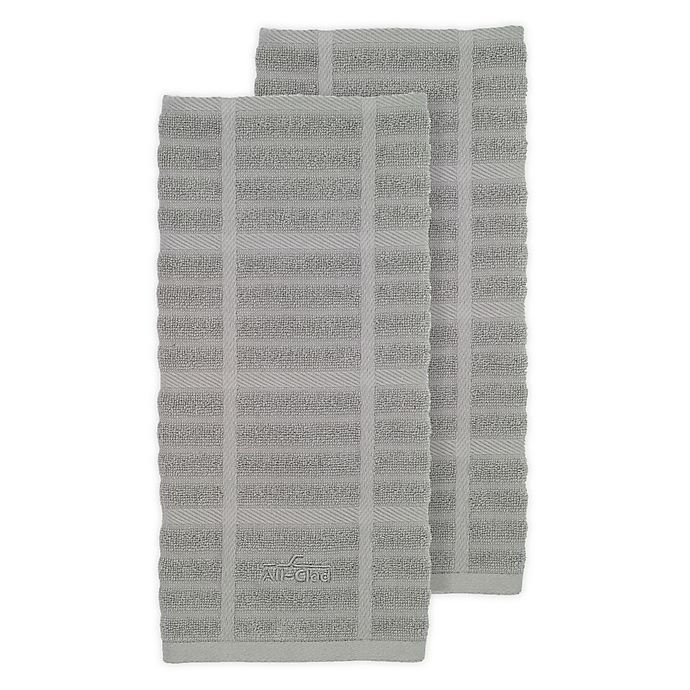 Alternate image 1 for All-Clad Solid Kitchen Towels in Titanium (Set of 2)